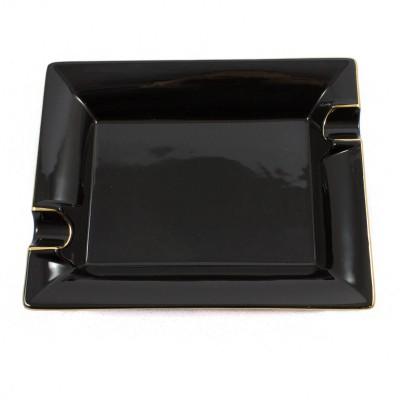 Zigarrenaschenbecher Porzellan schwarz/Goldrand mit 2 Ablagen -20%